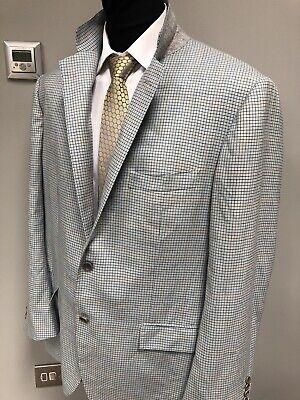 Mens Kiton Napoli Made In Italy Cashmere Puppytooth Check Blazer  Jacket 56 (XL)