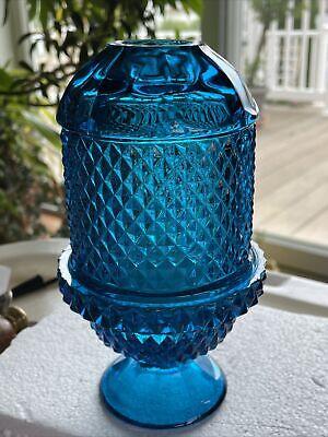 Vintage Pressed Glass Fairy Lamp Candle Holder 3 Pcs Blue Diamonds Panels Design