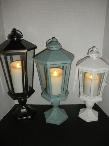 "Luminara WINDSOR Lantern with pedestal Flameless candle 17"", 19"", 21""  5 Colors"