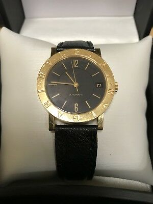 Bvlgari 18K Yellow Gold Men's Watch BB 33 GL Auto Automatic Black Leather Band ()