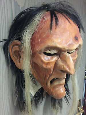 inzigartige Klaubaufmaske HEXE aus Holz, handgeschnitzt (Herrliche Hexe)