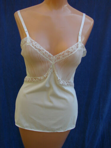 Vintage 60s Camisole Slip White Nylon Vanity Fair 34 GC  CRYSTAL PLEATS Lace