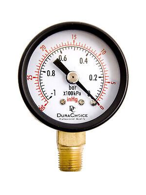 1-12 Utility Vacuum Pressure Gauge - Blk.steel 18 Npt Lwr. Mnt. -30hg0psi