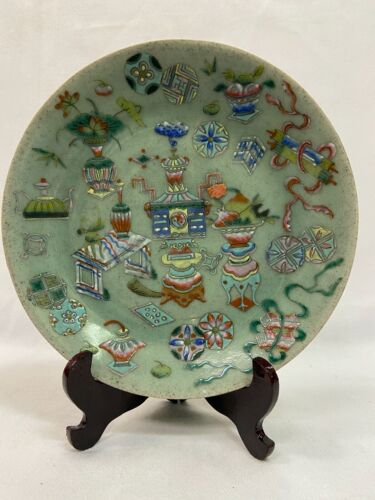 Chinese antique celadon 9 inch plate with marking.