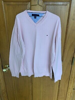 Vtg TOMMY HILFIGER Mens V Neck Pink LS Flag Logo Sweater