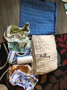 Prefold Cloth Diapers with wet bag, snappis, covers and liners