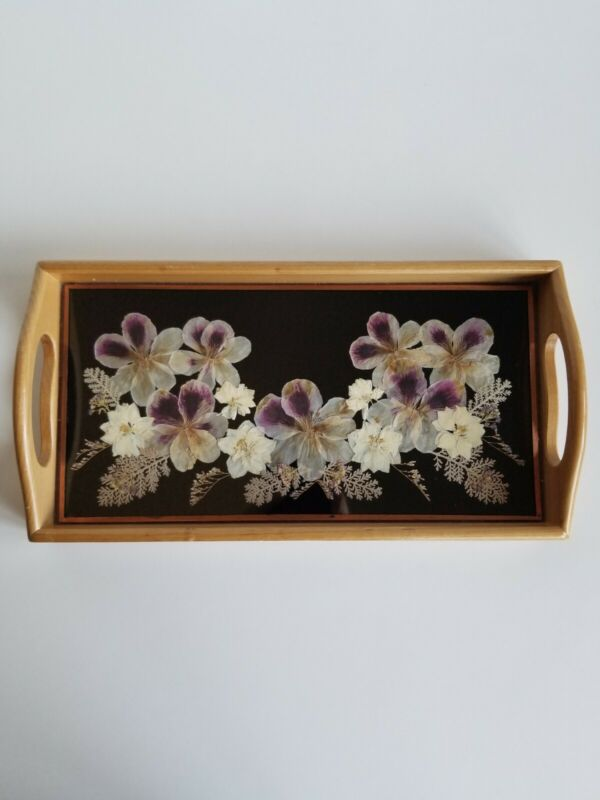 Wood Rectangle Tray With Pressed Flowers Glass Top
