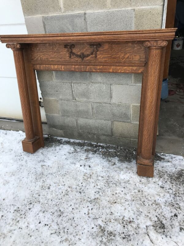 MAR antique oak quartersawn fireplace mantle round: 59 x 46.5 x 9
