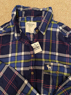 Womens Abercrombie & Fitch Long Sleeved Check Tartan Blue Shirt Vintage Size L