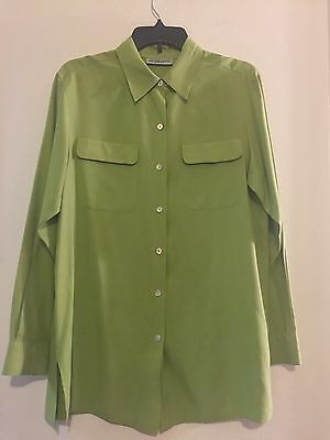 (Amanda Smith 100% Silk Women's Green Blouse Long Sleeve Pearly Buttons Size M)