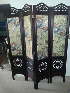 Timber Hand Painted Chinese Screens x 2 Banora Point Tweed Heads Area Preview