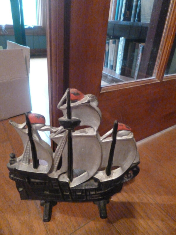 Vintage Cast Iron 3 Mast Sailing Schooner Doorstop HEAVY! Black, Grey, Red L@@K!