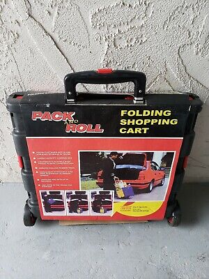 Foldable Plastic Shopping Cart Trolley Portable Packroll Folding Grocery Basket