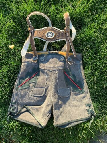 Vintage Marke Bergfreund German Leather Child Lederhosen Suspenders
