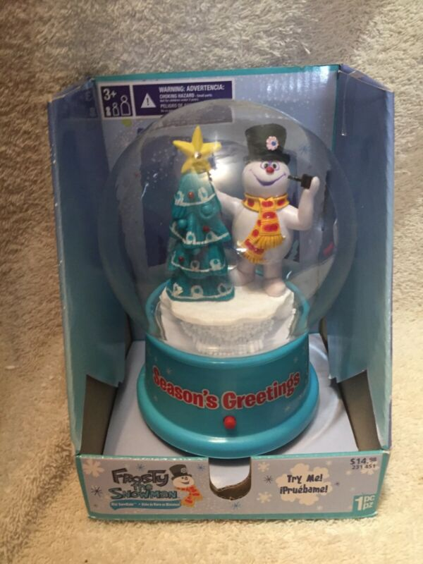 ⛄NIB Gemmy Musical SNOW GLOBE Blue FROSTY THE SNOWMAN Christmas Song Waterless☃️
