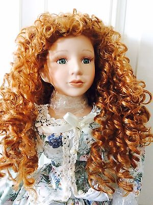 """26"""" Heritage Signature Collection Porcelain Doll W/COA, Stand, Box And Parasol"""