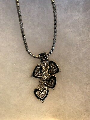 BRIGHTON FOUR HEARTS NECKLACE BLACK SILVER TONE NEW