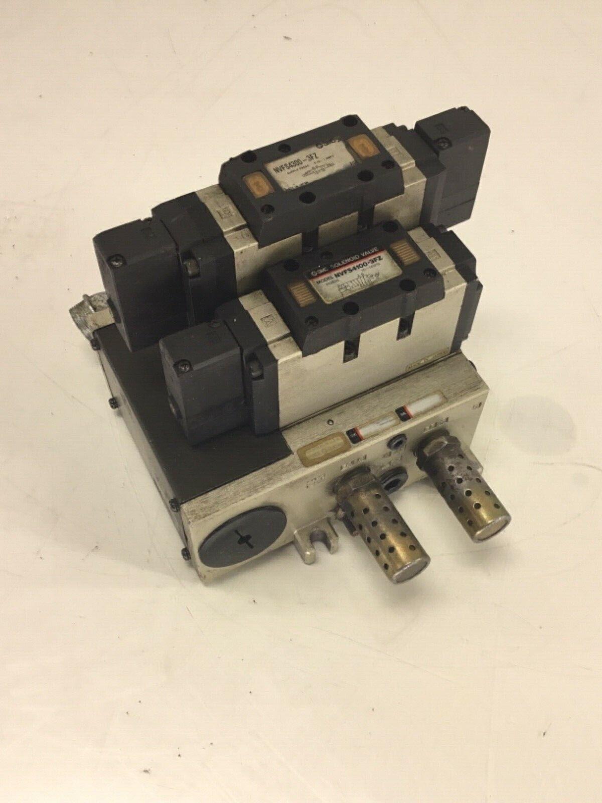 SMC Solenoid Valve, NVFS4300-3FZ & NVFS4100-3FZ, w/ Manifold Body & Mufflers