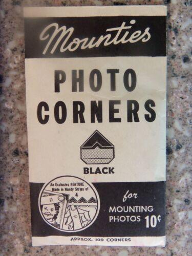"VINTAGE 100 OLD BLACK ""MOUNTIES"" PHOTO/PICTURE MOUNTING CORNERS- Sealed  ESTATE"