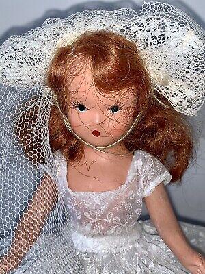 """Vintage Nancy Ann Storybook Bisque Frozen Leg 5"""" Auburn Haired Doll Bride"""