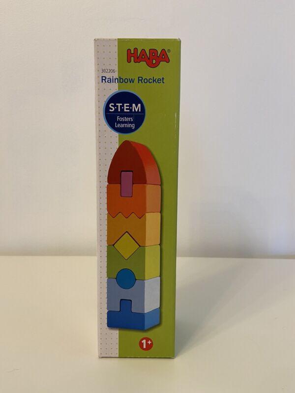 "Rainbow Rocket 9 Wooden Shaped Blocks HABA STEM 8.5""x2""x2"" Age 1+ #302206"