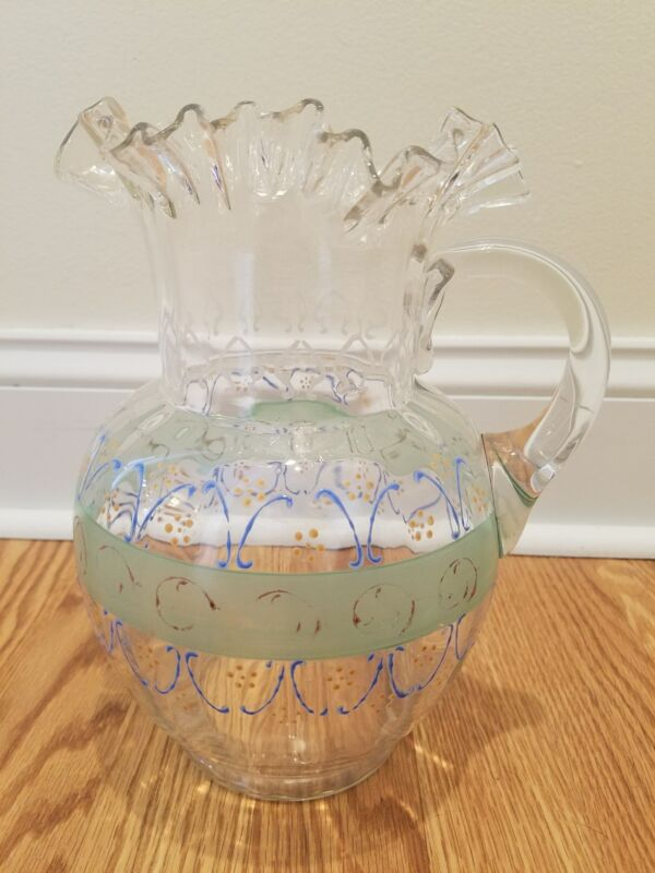 Antique Victorian Ruffled Hand Painted Pitcher