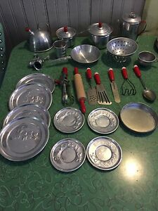 VINTAGE TIN DISHES POTS UTENSILS
