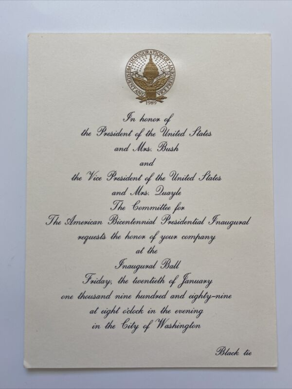 1989 President George Bush Inauguration Inaugural Ball Invitation Dan Quayle