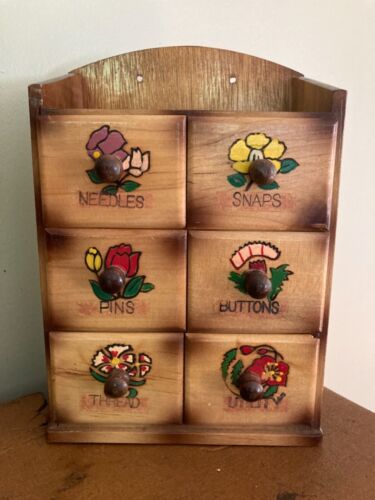 Vintage Wooden Sewing Wall-Mount Notions Box - Needles Snaps Pins Buttons Thread