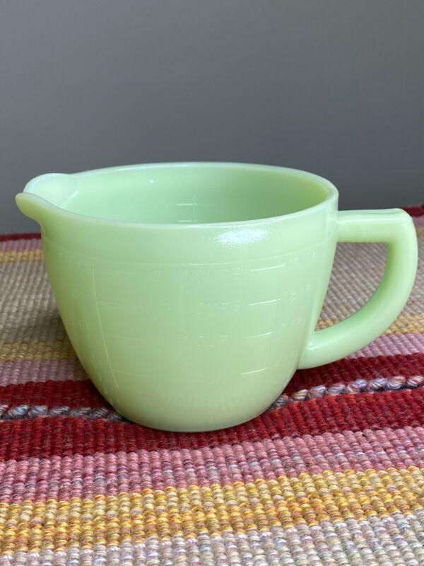 Jeannette Jadeite Green 2 Cup Measuring Pitcher Sunflower Design