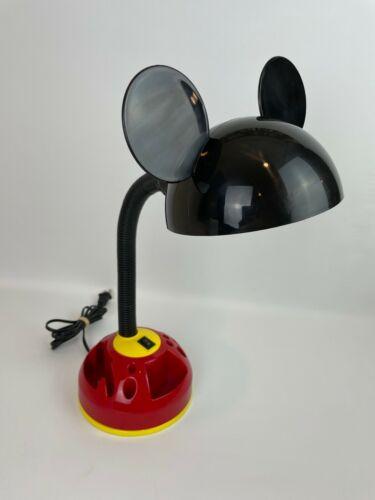Vintage Disney Mickey Mouse Gooseneck Desk Lamp w/ Carousel Organizer & Bulb