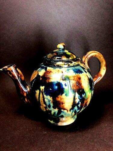 Rockingham Style Teapot Mottled Glaze Yelloware Body 2 Cup Portuguese Antique