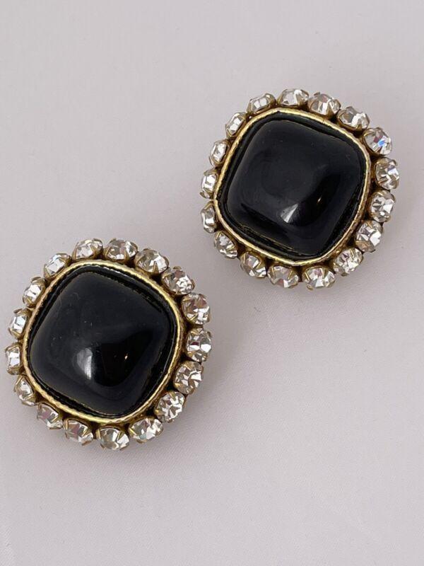 Vintage DOMINIQUE AURIENTIS Black Caboshon Fashion Earrings Gold Tone