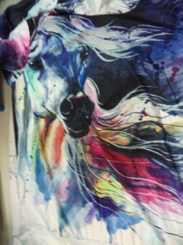 Multi-Color Horse Man's Hoodie Vibrant Multi-Color Print 100% Polyester XL NIP