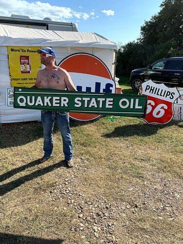 Vintage Rare Quaker State Motor Oil Gas Metal Sign 72X12