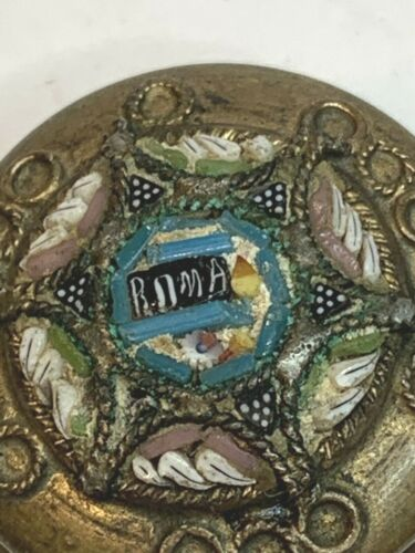 † SCARCE ANTIQUE COLORFUL MICRO MOSAIC LOCKET CASE TINY WHITE GLASS ROSARY †
