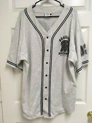 REALISTIC RECORDS 03 Men Gray Button Front Baseball Jersey Shirt XXL Badger USA ()