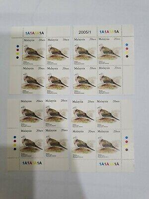 Malaysia Birds National Definitive 20sen Block of 4 B/4 x 4 Block MINT MNH