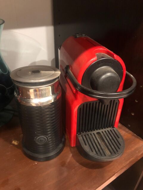 Red Nespresso Breville Pod Coffee Machine And Milk Frother Small