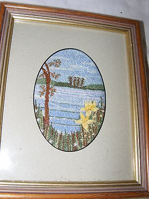BEAUTIFUL ARTIST HAND EMBROIDERED, EMBROIDERY PICTURE OF A RIVER RIVERBANK SCENE