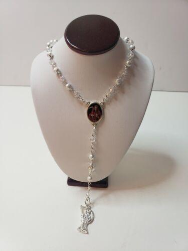 Santa Muerte Rosario /Rosary Holy Death Handmake Silver Plated/ Clear / Suerte