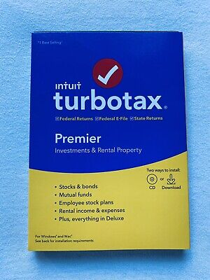 Turbotax Premier 2019, Investments & Rental, Fed & State PC/Mac