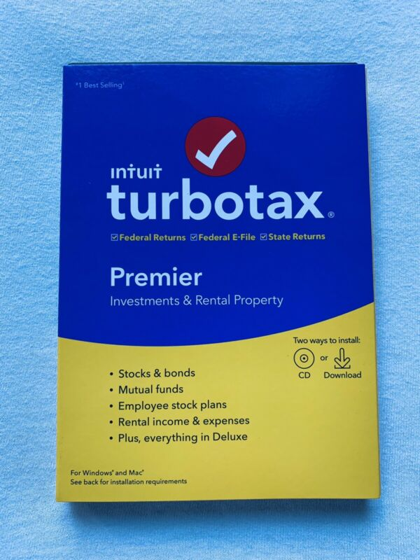 Turbotax Premier 2019, Investments & Rental, Fed & State PC/Mac, Same Day Access