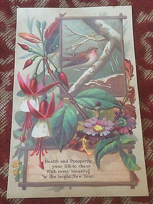 1890s new year card ! festive bird & flowers