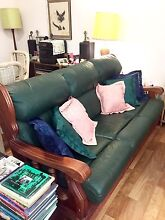 Rainforest timber & Genuine Leather 3 Seater Couch + 2 Armchairs Mountain Creek Maroochydore Area Preview