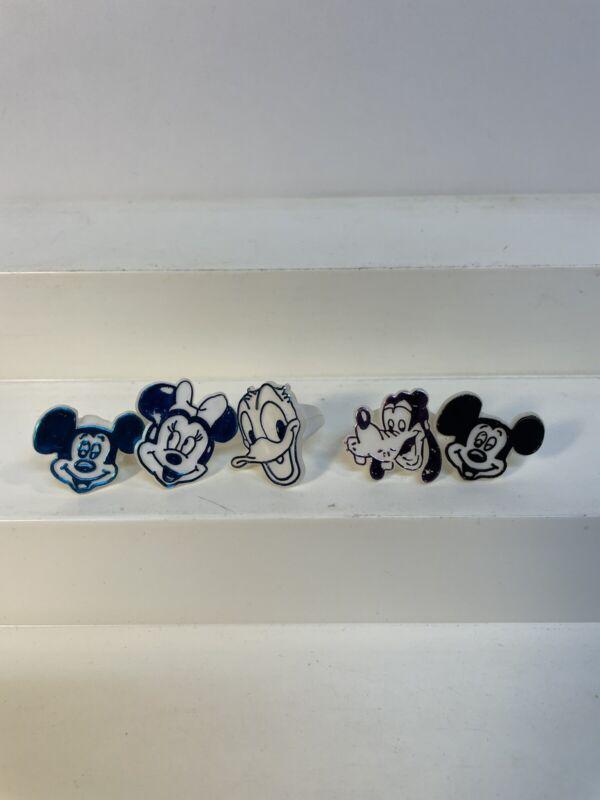 5 Vintage Disney Premium Gumball Rings Mickey Minnie Goofy