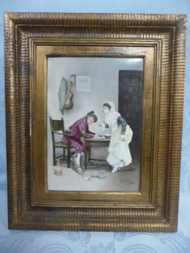 "ANTIQUE PORCELAIN PLAQUE AFTER JULES J ROUGERON - ""THE DICTATION OF A LETTER"""
