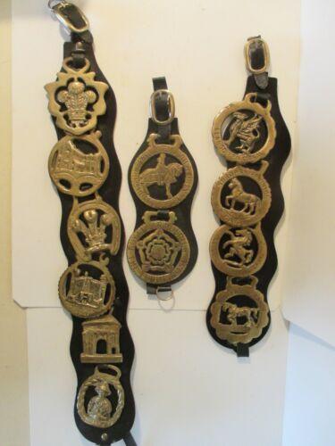 12 Vintage Bronze Brass Horse Saddle Bridle Medal Parade Medallion Decor