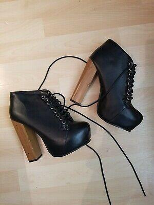 Jeffrey Campbell Lita Inspired Black Block High Heels Size 4 Five Inch