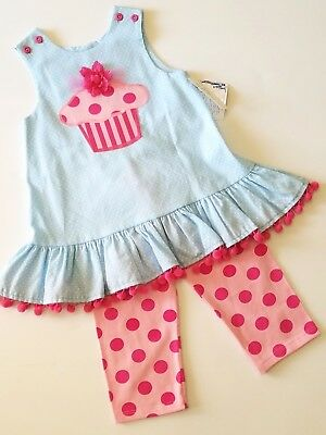 NWT Girls 4T Boutique Bailey Boys CUPCAKE 2pc Set Pink Polka Dots PARTY B-DAY